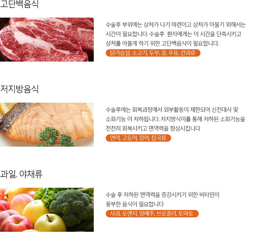 재활 식이를 위한 고단백 음식, 저지방 음식, 과일 야채류 안내